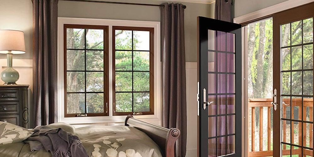 Casement windows in a bedroom