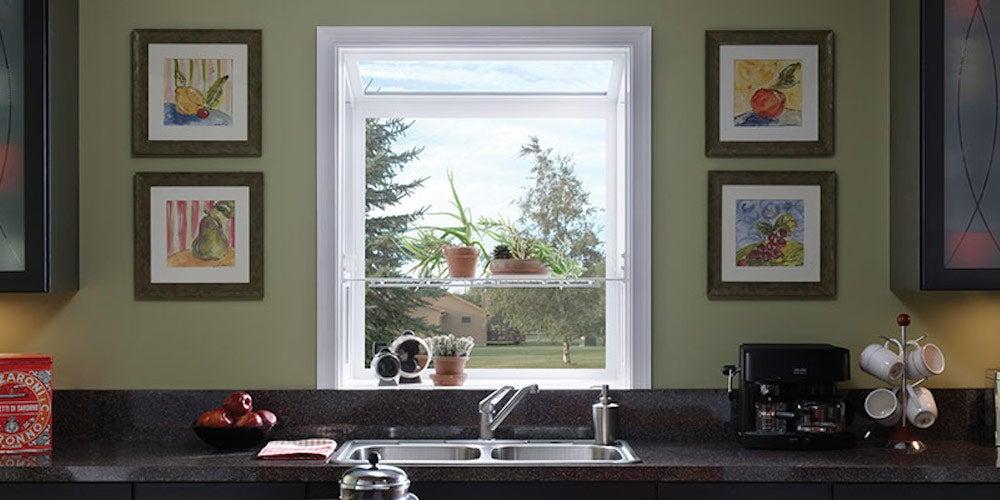 Garden window over a kitchen sink