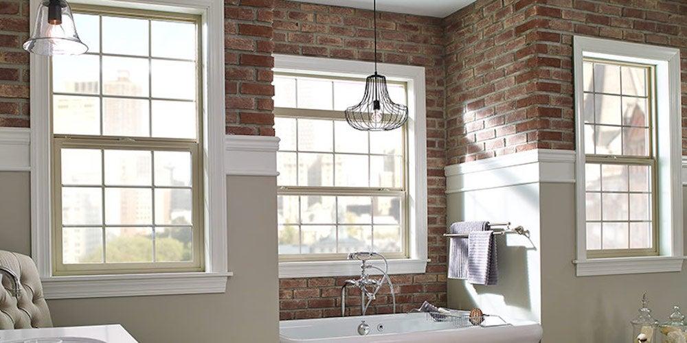 Single-hung windows in a well-lit bathroom
