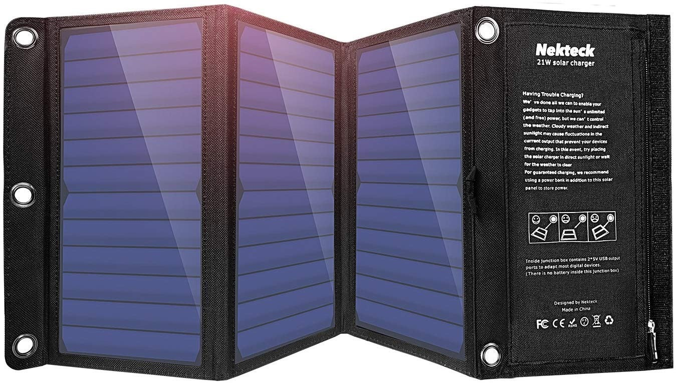 The Nekteck solar charger placed semi-folded and upright