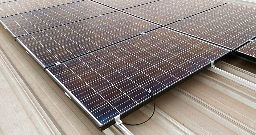 Close up installed solar panels