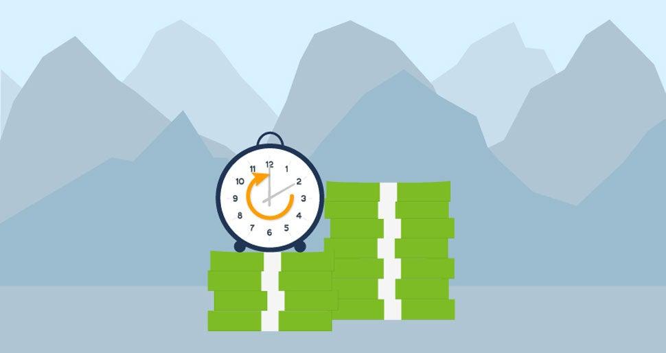 Colorado mountains, clock and money