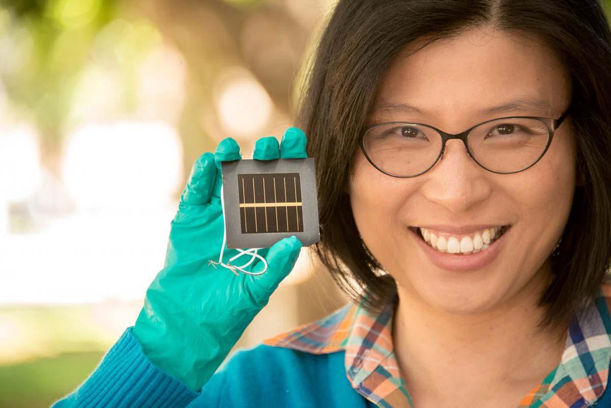 UNSW's Anita Ho Baillie holds a perovskite solar cell