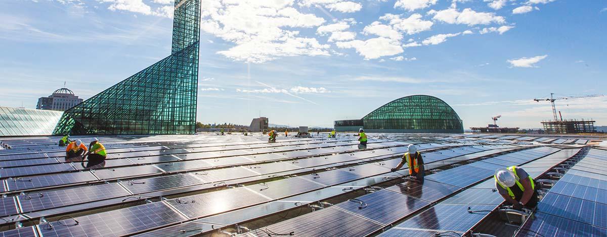 Tesla solar panels being intalled