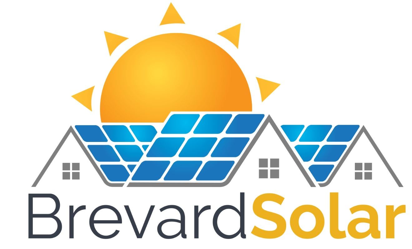 Brevard solar logo with rooftop solar panels and sun shining in the background