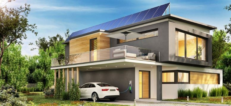 a rendering of a sleek-looking modern home with solar panels and a tesla charging in the carport
