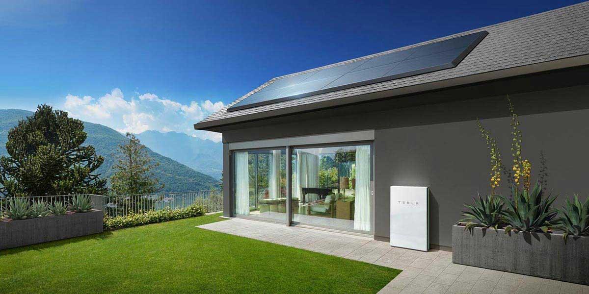 Tesla solar panels on roof