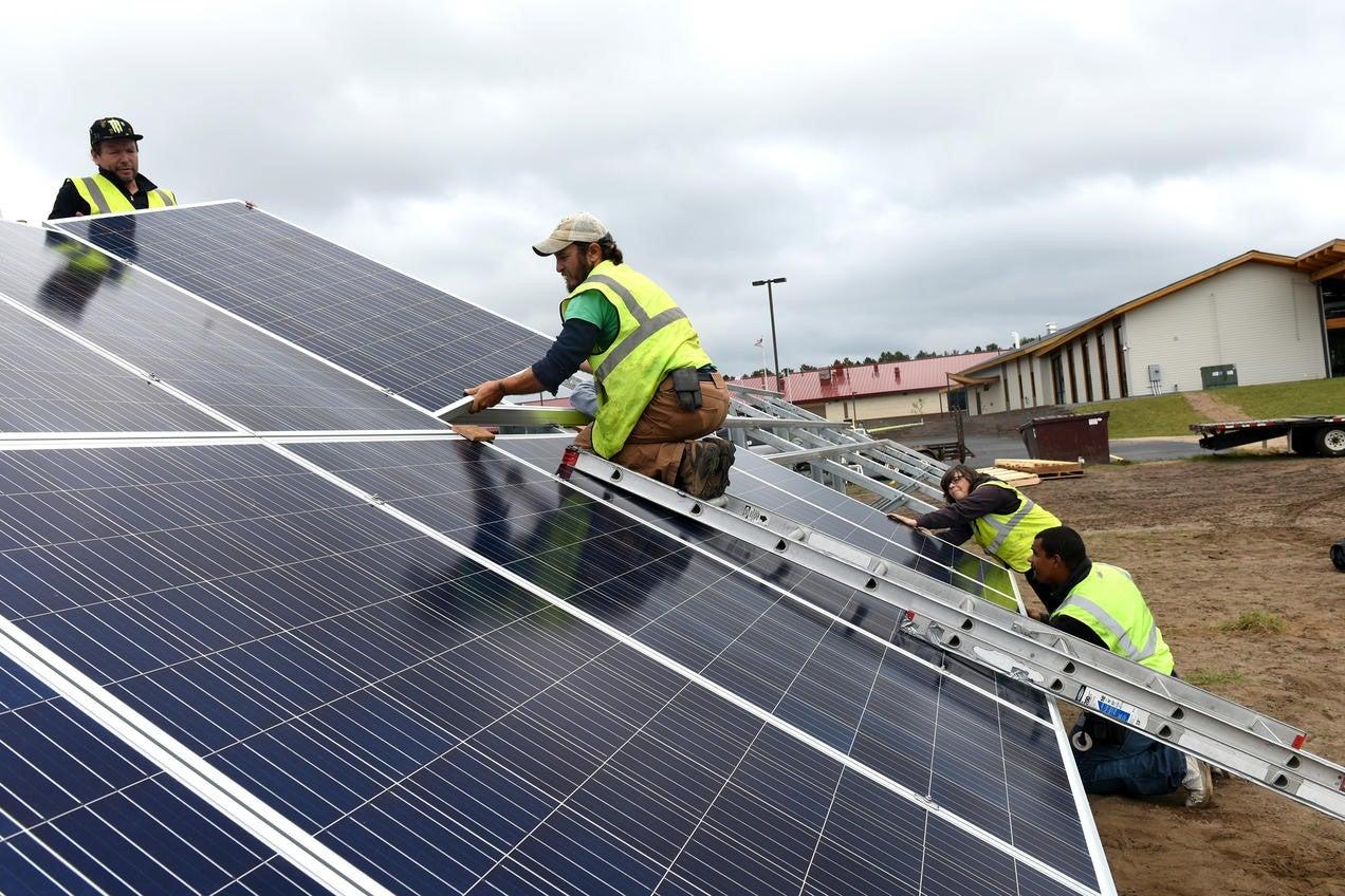 A Minnesota community solar panel installation at Leech Lake Tribal College
