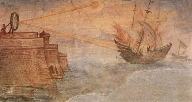 A painting of a magnifying glass used by Archimedes burning an enemy ship