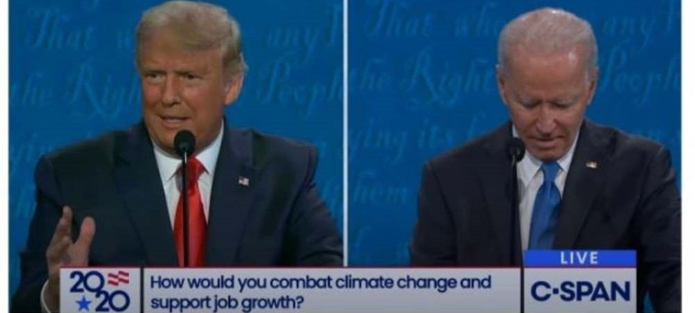 president donald trump and joe biden talking about climate change and renewable energy