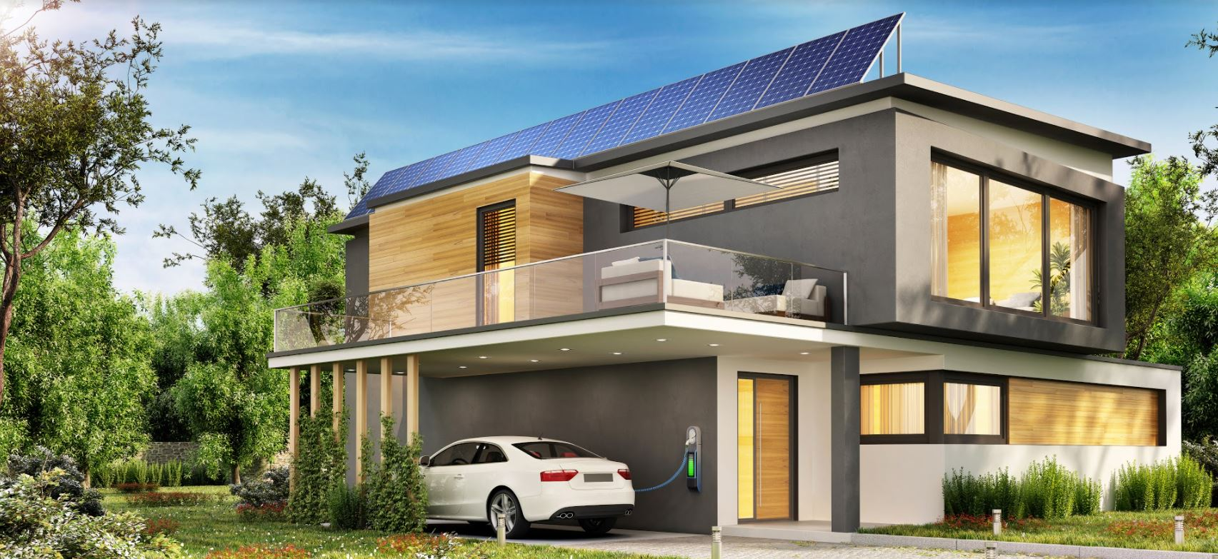 An electric car charging from home solar panels