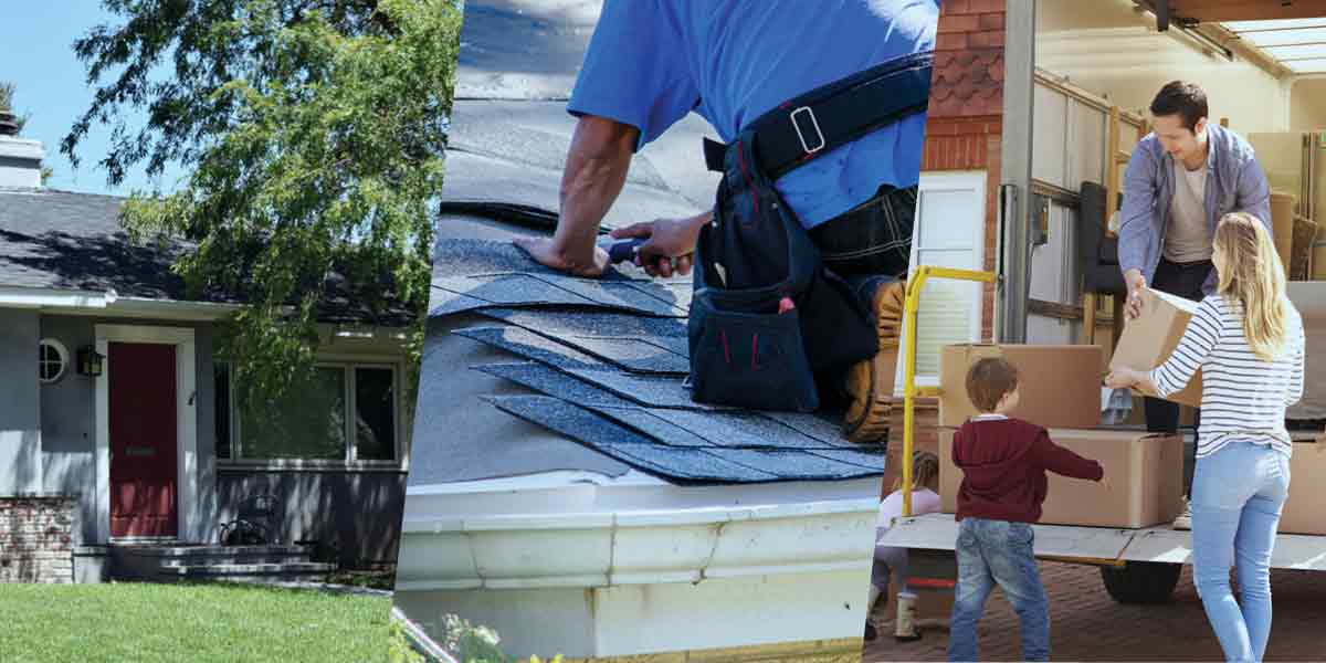 Three images, L to R: shaded roof, contractor replacing a roof, family packing a moving truck.