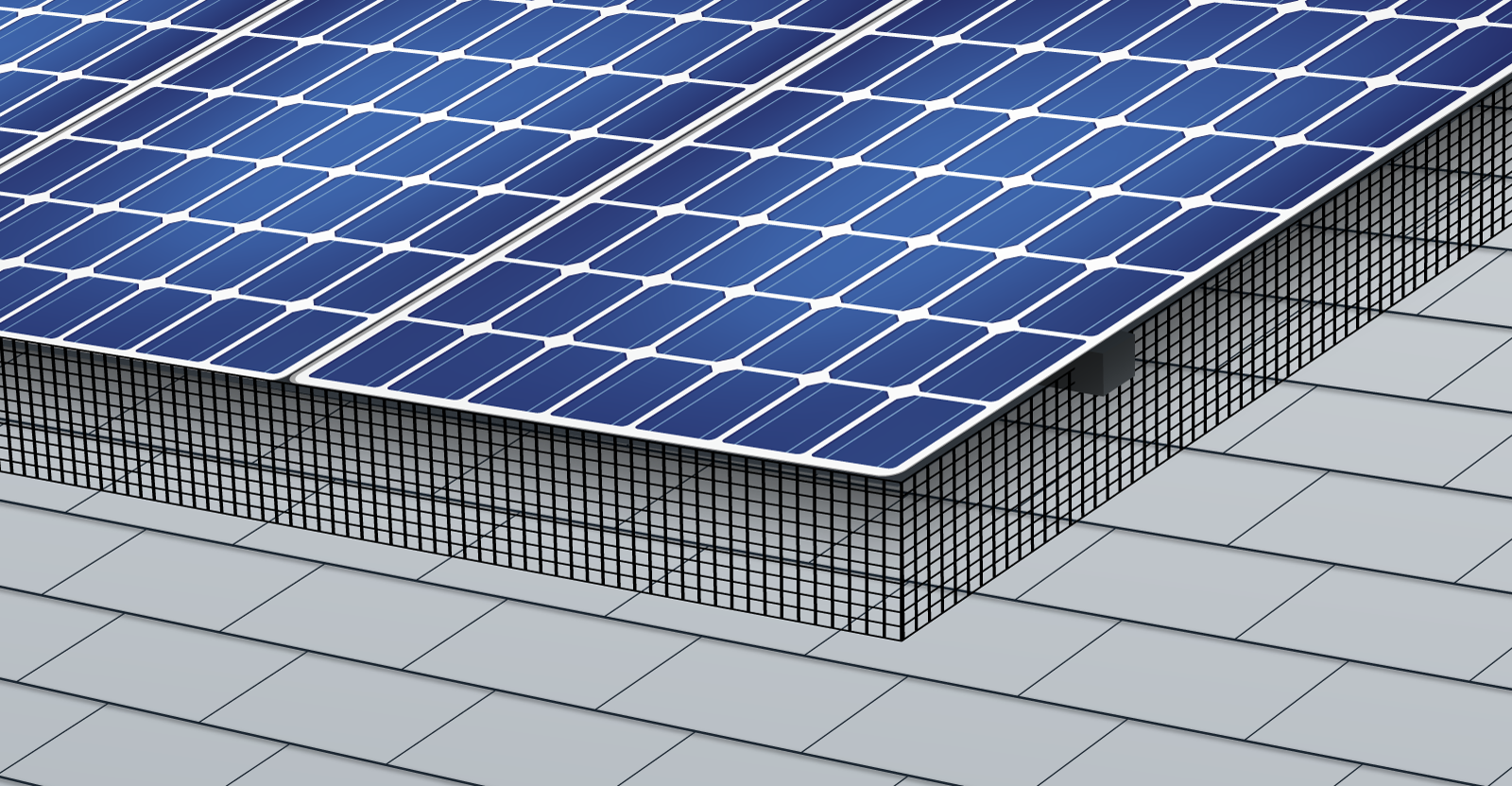 a solar critter guard protecting solar panels on a roof