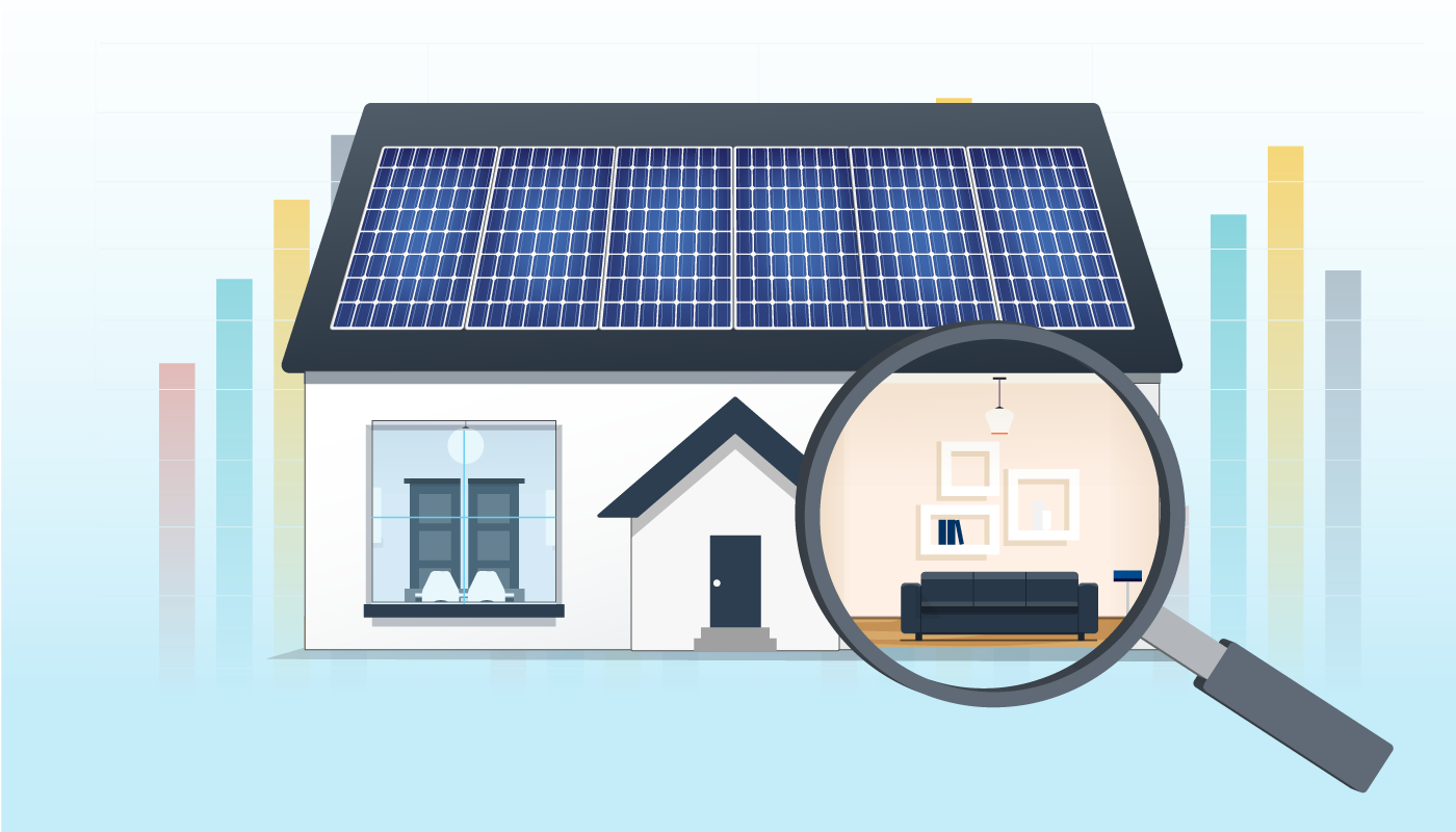 a home with solar panels saving money