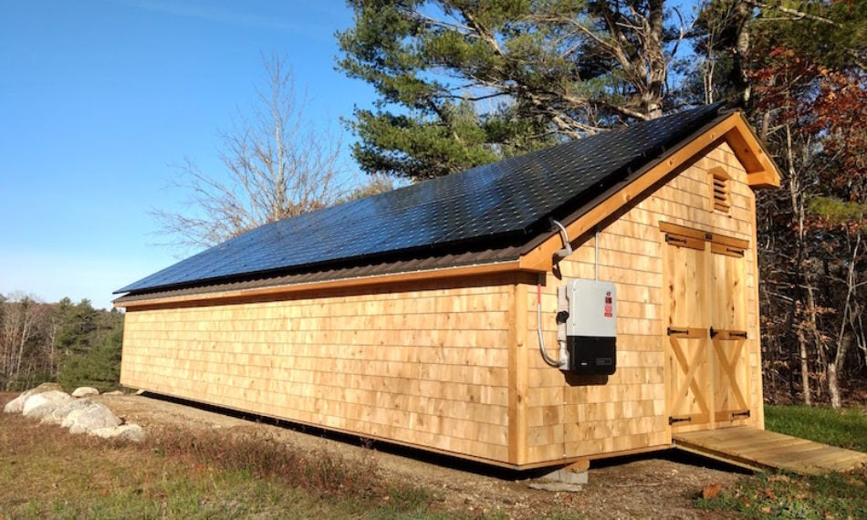 A shed with a solar array