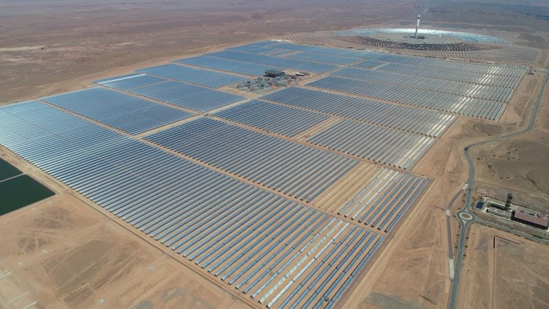 Above: A massive solar PV plant (foreground) next to a solar CSP plant (background)