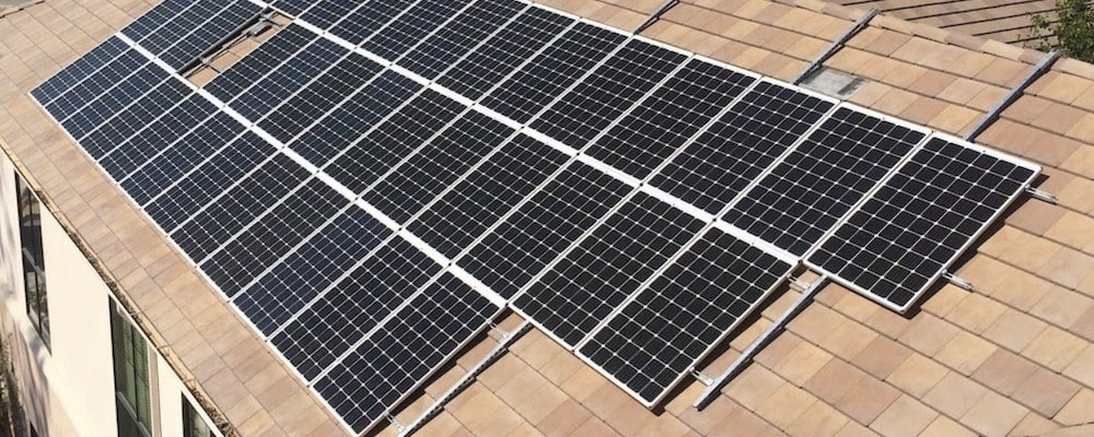 Rows of solar panels on a residential roof
