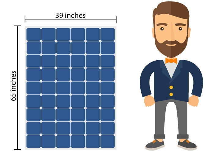 Man standing next to solar panel