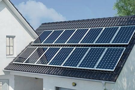 Solar panels on house close up
