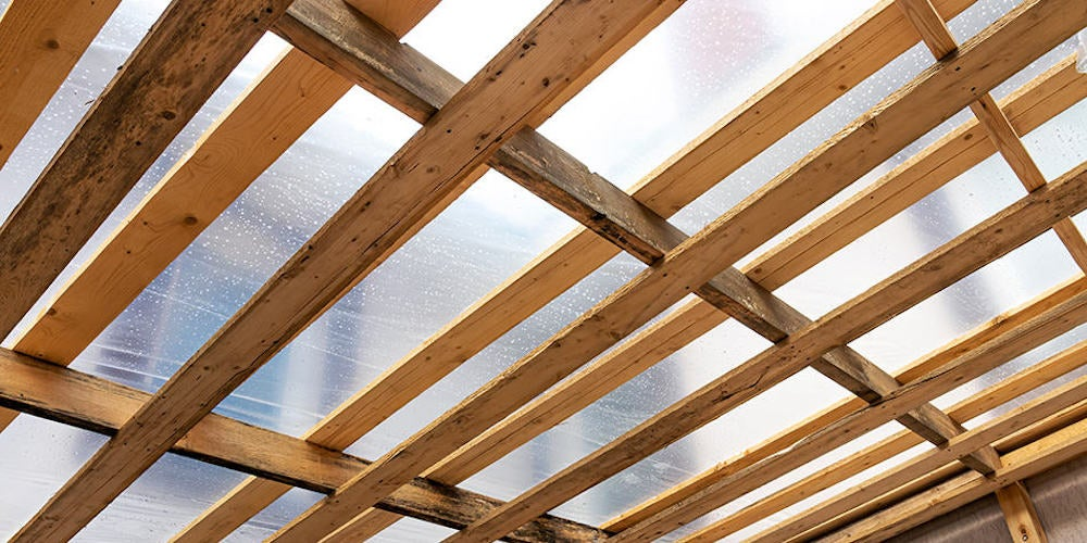 Exposed wood rafters