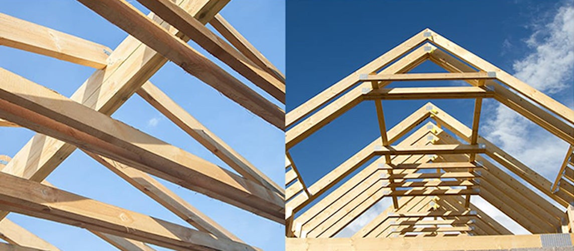 Roof rafters and trusses side-by-side