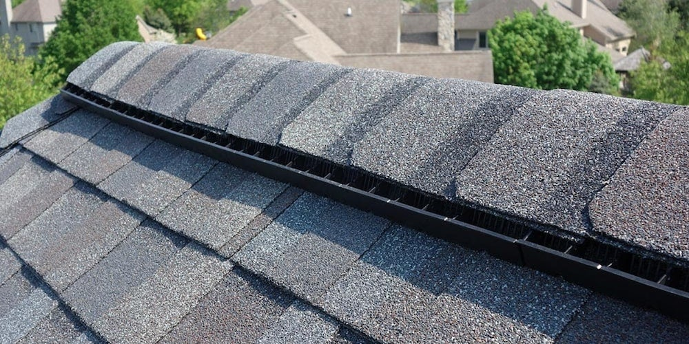 Ridge vents on a residential roof