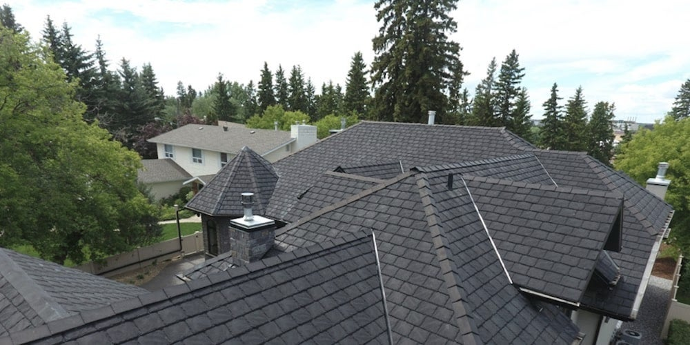 Rubber shingles on a residential roof