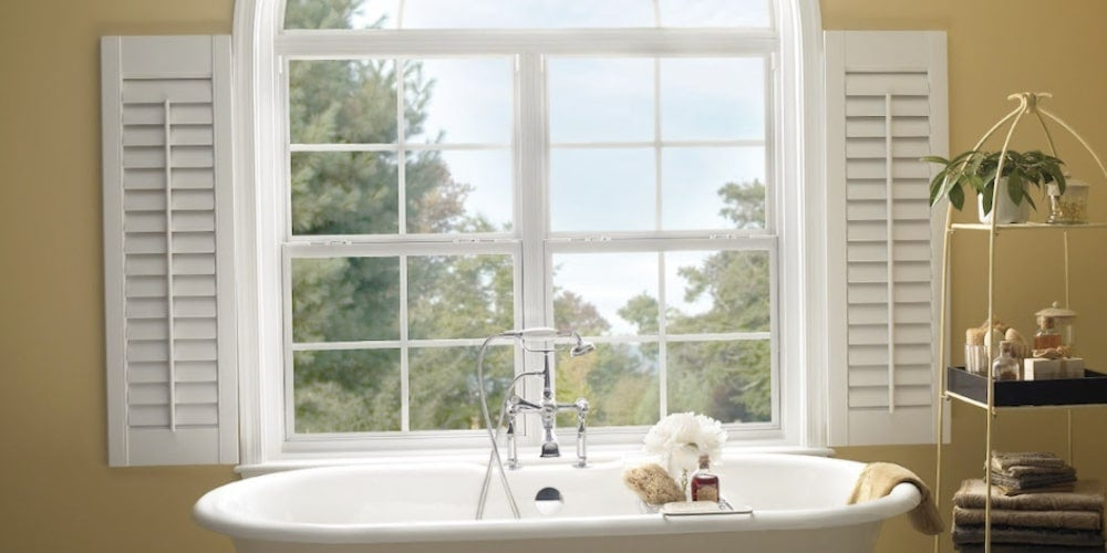 Aluminum double-hung windows installed in a bathroom