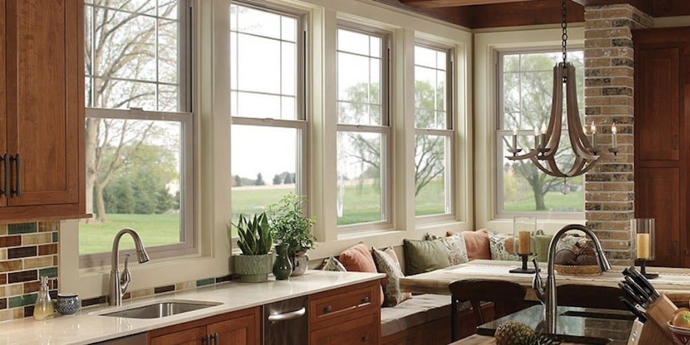 Vinyl single-hung windows installed in a kitchen