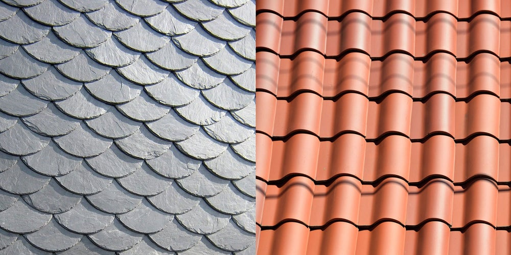 Slate and clay roofing tiles
