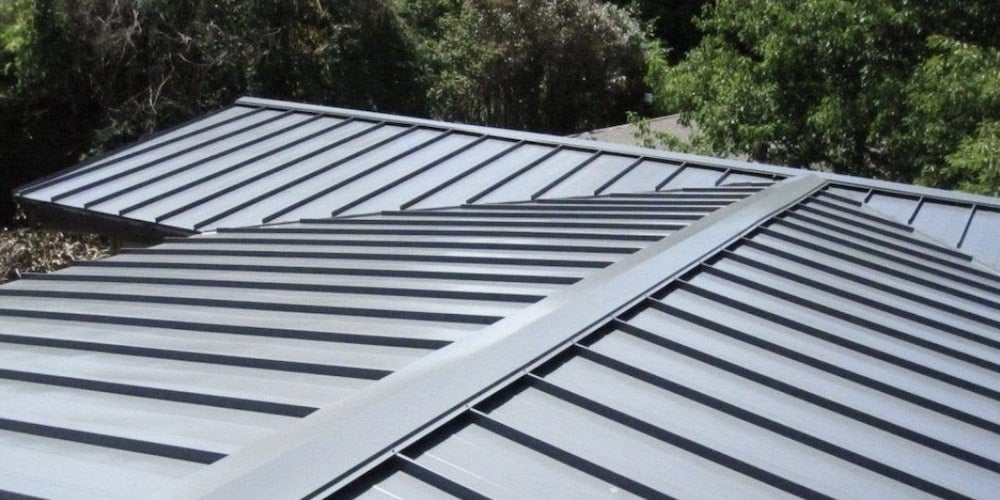 Standing-seam metal roof on a house