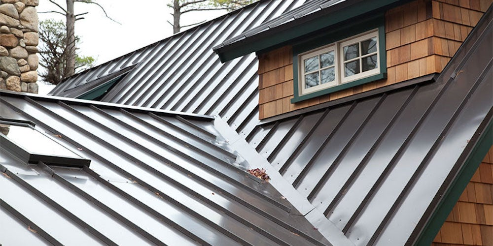 Standing seam metal roofing on a residential home