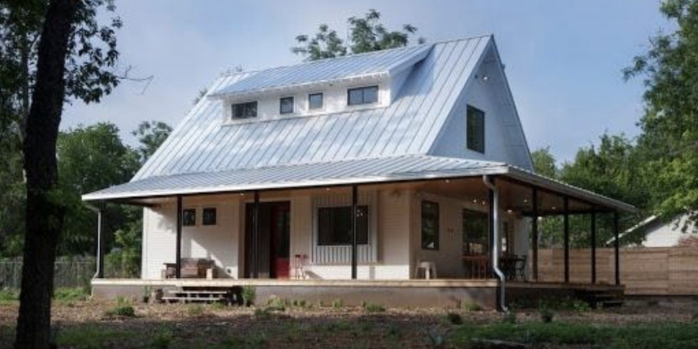 Steel roofing on a cottage