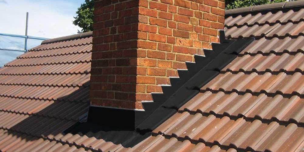 Step flashing on a residential roof