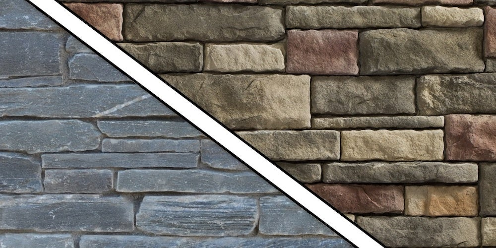 Stone veneer siding next to natural stone