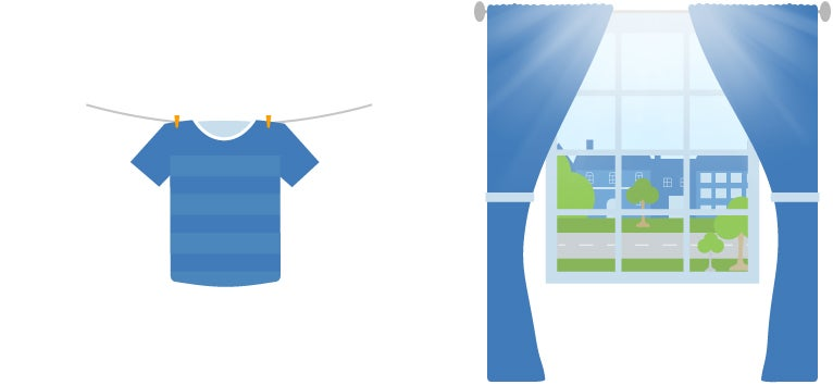 drying clothes outside instead of using electricity and using the sun to warm up your home