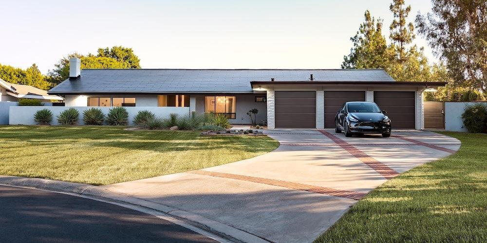 Tesla solar tiles on a residential roof