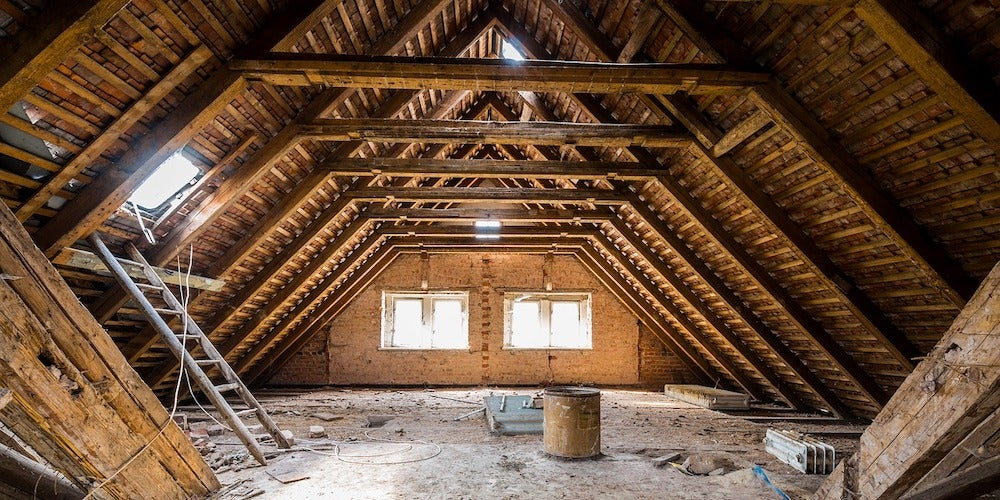 Unfinished attic in a suburban home