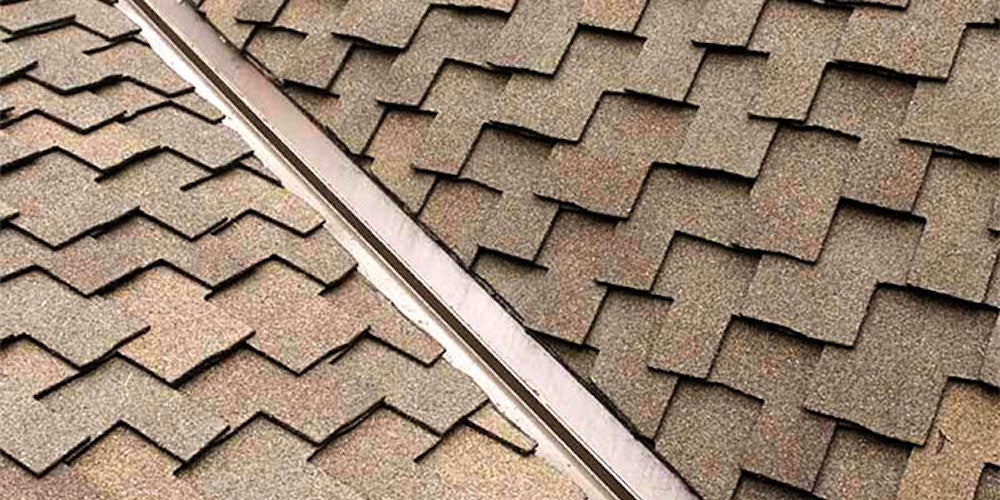 Valley flashing on a residential roof
