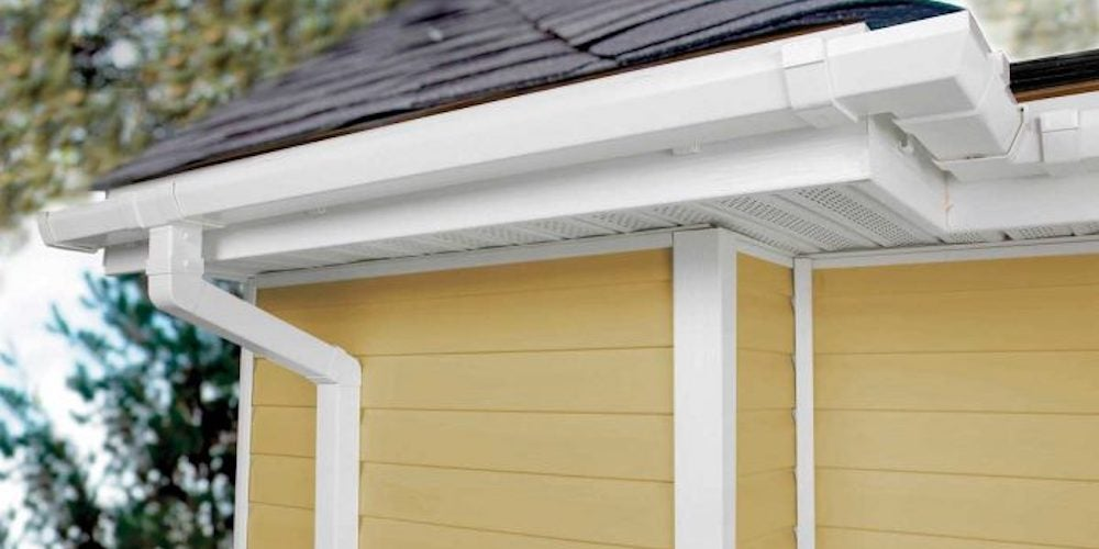 Vinyl gutters on a residential home