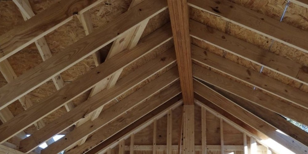 Rafters in a newly-constructed home