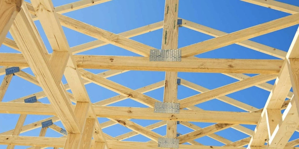 Roof trusses in a newly-constructed home