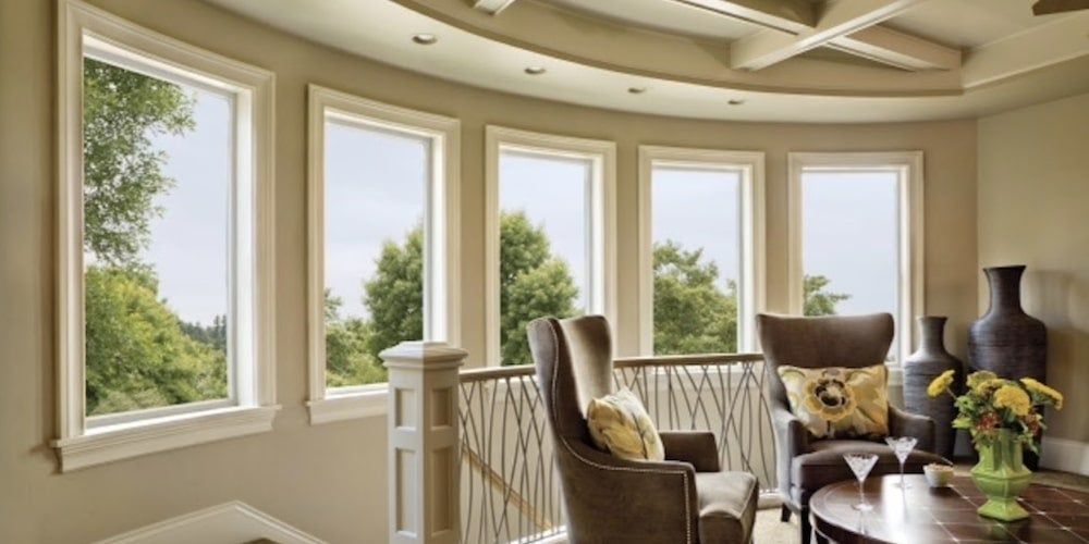 Picture windows throughout a living room