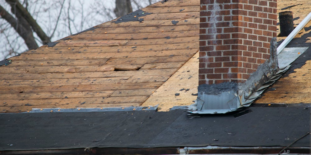 Newly-installed roof flashing on a residential home