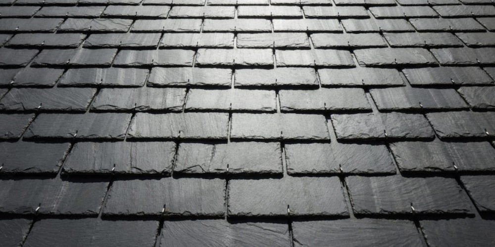 Newly-installed slate roof