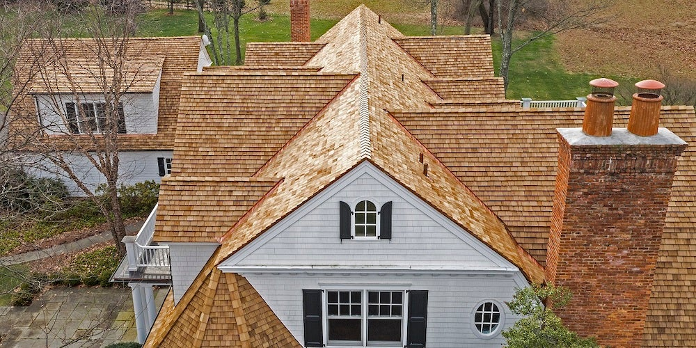 Wood shingles on a residential roof