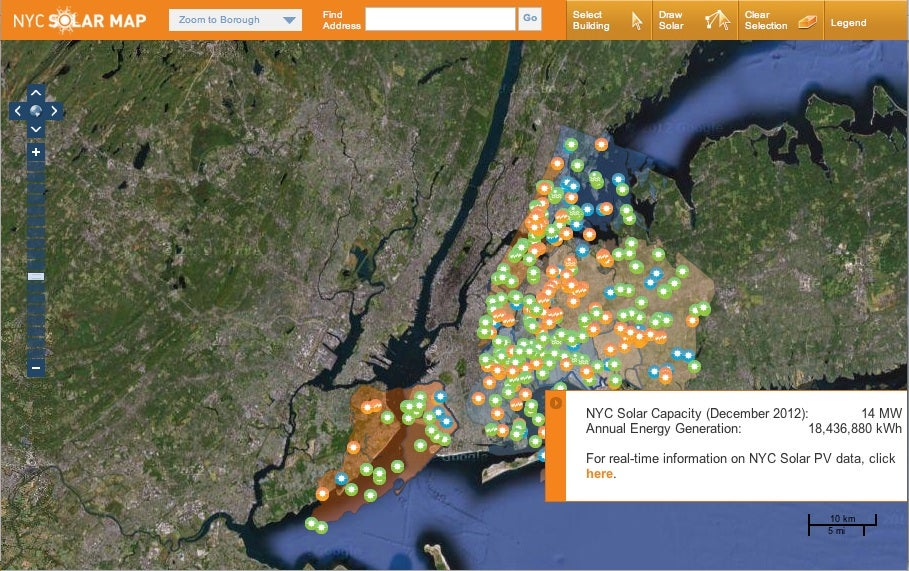 NYC Solar Map Screenshot, Courtesy CUNY