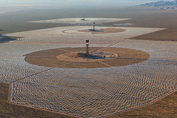 Recent picture of the Ivanpah SEGS plant. Courtesy BrightSource.