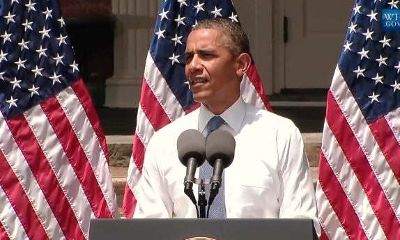 Obama speaking during climate change plan speech. Excerpted from White House video.