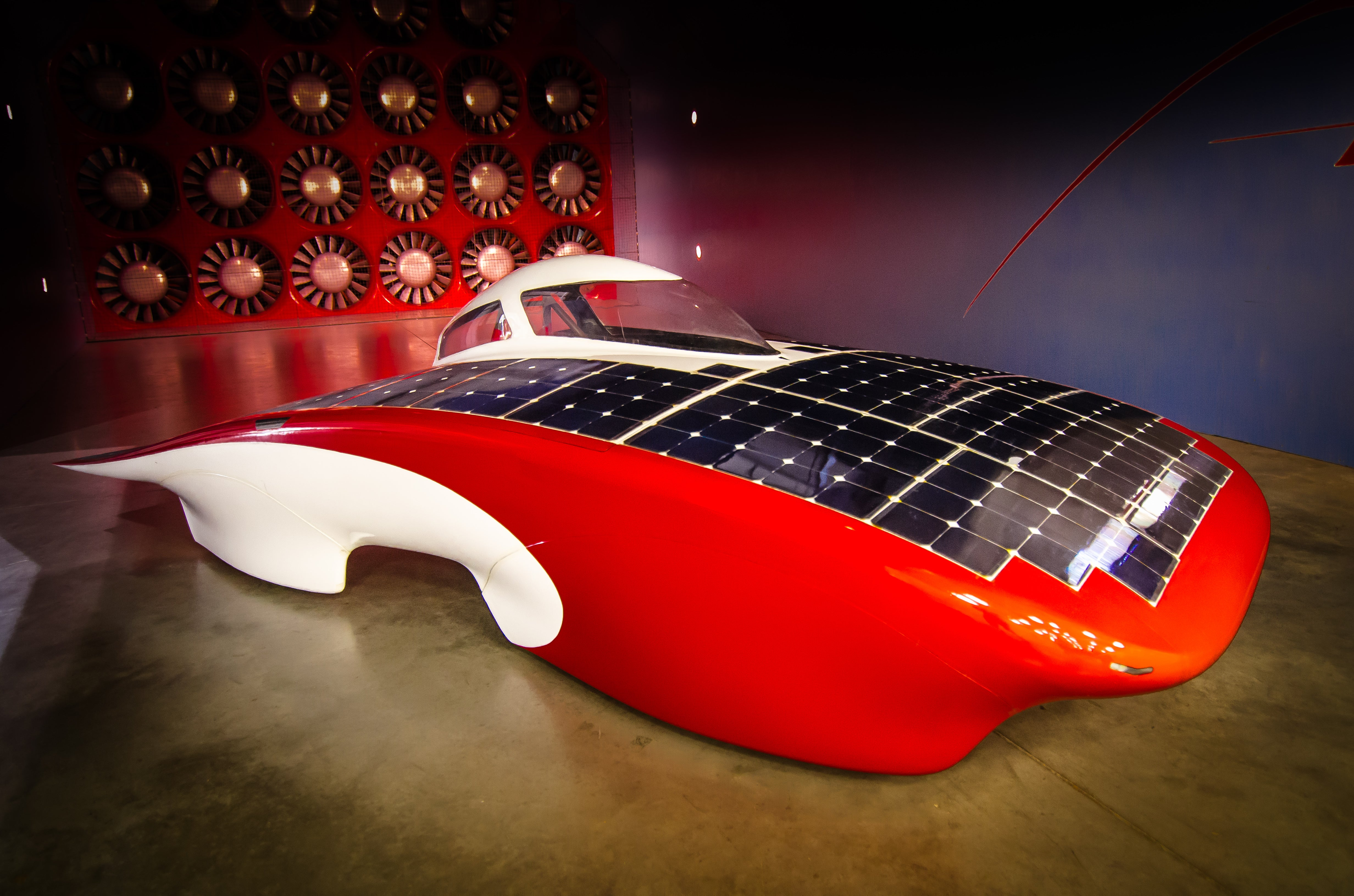Stanford's Luminos car in wind tunnel testing. Courtesy Stanford.